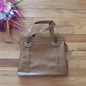 VINTAGE Camel Brown Double Handled Handbag